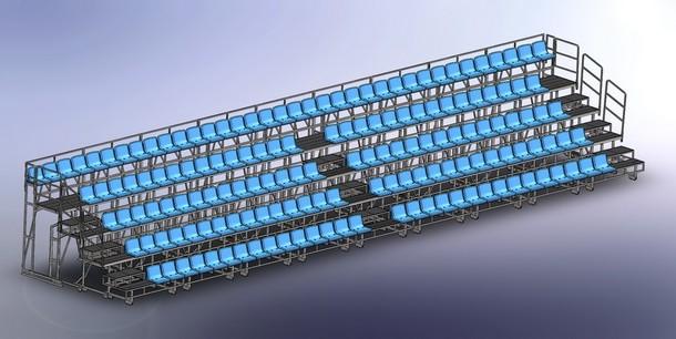 Сборка телескопической трибуны  (разложеная) с центральным проходом_2