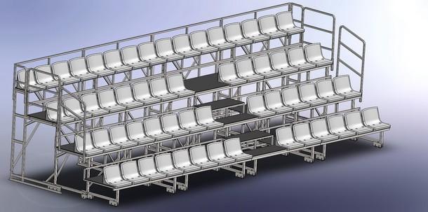Сборка 4-х рядной телескопической трибуны на 58 мест (разложенная)_2